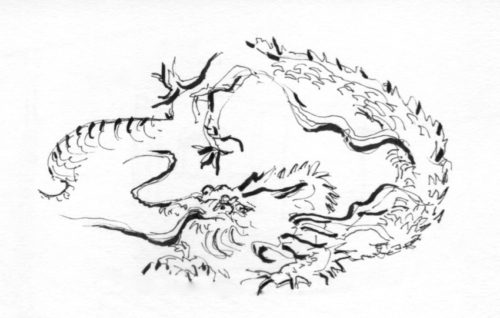vision de dragon dessinée par Michel lors de notre voyage au japon 2017